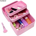 Women Travel Portable Three Layers Large Capacity Profession Organizer Beautician Cosmetic Case Ladies Waterproof Makeup Toolkit