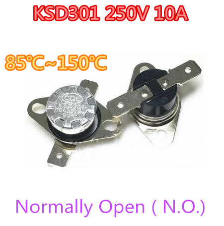 50 шт./лот KSD301 10A250V 85 ~ 150 градусов c нет. Обычно открытым Температура выключатель Термостат