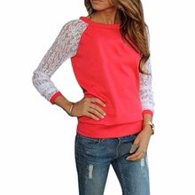 2018 Spring Long Sleeve Blouse Women Tops White Crochet Lace Patchwork Blouses Casual Tunic Shirts Blusas Femininas Camisas XXL(China)