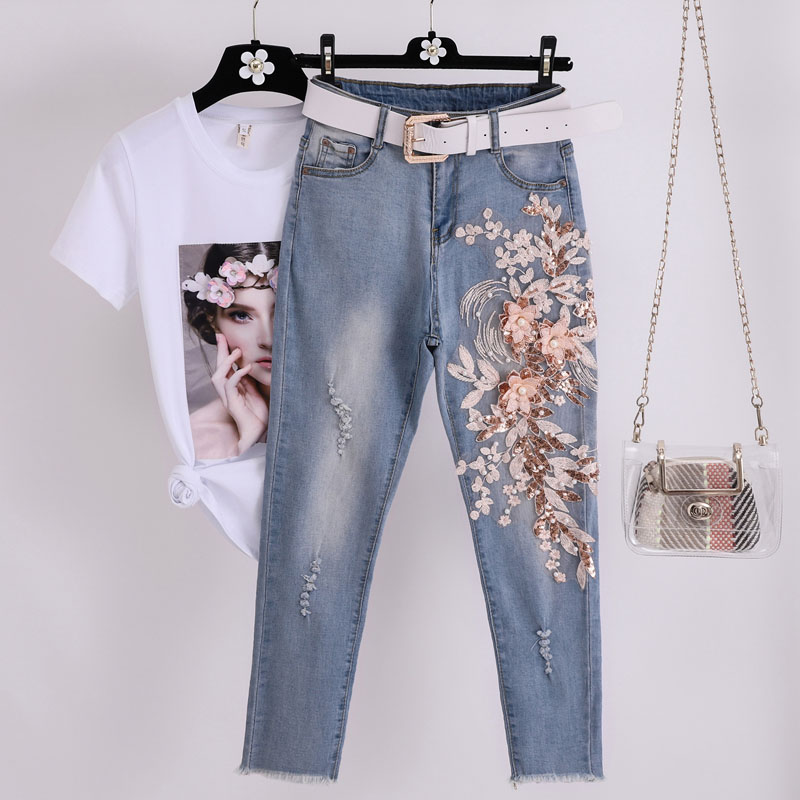 Women High Waist Jeans Set 2019 Summer New Printed T-shirt & Denim Pant Suit Set Women Embroidery Two Piece Set Female Tracksuit