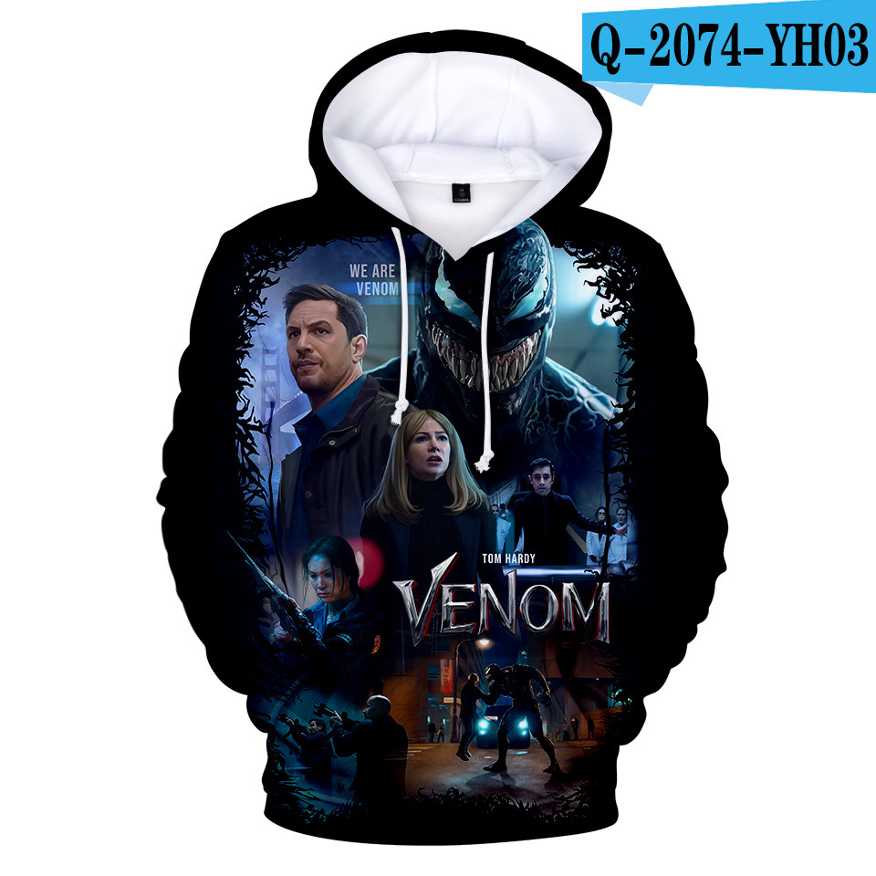 American film venom men and women wearing a sweater Sweatshirts Venom 3D Printing Casual Long-sleeved Hooded Hoodies Kids Tops