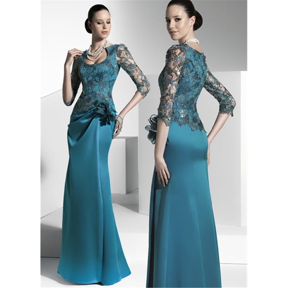2019 Mother Of The Bride Plus Size Green Bride Mother Dresses Weddings Flowers Lace SatinWomen Formal Gown Vestido Made Da Noiva