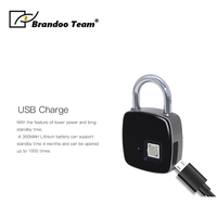 P3+ Newest high quality portable Bluetooth smart Fingerprint padlock Anti Theft iOS Android APP electronic lock from Brandoo
