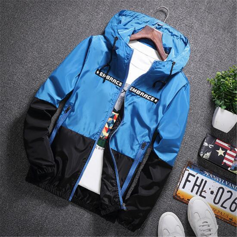 New Spring Autumn Bomber Hooded Jacket Men Casual Slim Patchwork Windbreaker Jacket Male Outwear Zipper Thin Coat Brand Clothing #6