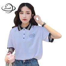 YAUAMDB women polo shirts summer S-2XL female tops letter tees clothing striped short sleeve loose fashion ladies clothes ly19(China)