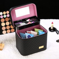 Simple large capacity portable cosmetic bag professional suitcase large double layer washing storage box ZP01111702