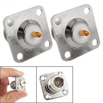 цена на 2pcs N type female jack RF coax connector 4-hole panel mount with solder cup,silver