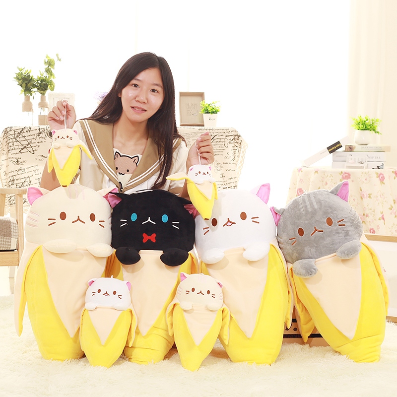 Candice guo plush toy stuffed doll cartoon animal cat in banana creative pillow cushion baby birthday gift christmas present 1pc