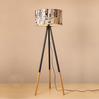 Creative Warm Personality Round Wood Vertical Tripod Floor Lamp with Light Source US Plug
