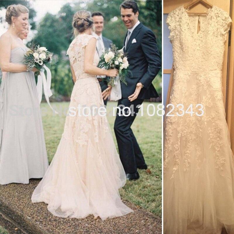Champagne romantic beach dresses v neck cap sleeves bridal for White vintage wedding dresses