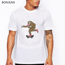 2019 summer mens t-shirts Skater Sloth loves donut funny t shirts homme white oversized shirt men anime cartoon