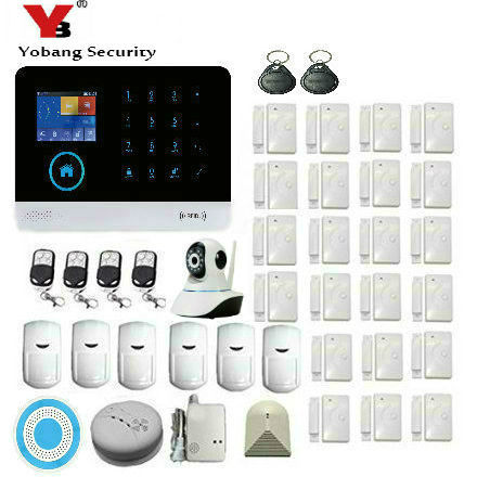 YoBang Security 2.4-Inch HD Display Screen WiFi GSM Alarm Application Controls Home Security Alarm System With Glass Sensor
