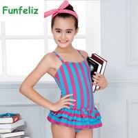 Girls Swimsuit One Piece Swimwear For Kids Striped Swimming Suit With Skirt Teenage Girls Swimwear Children