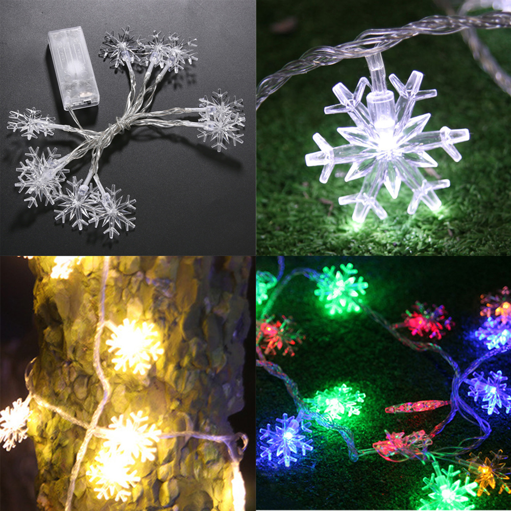 3 Styles 1.2m 10 LED Outdoor Lighting Snowflake Fairy String Lamp ...