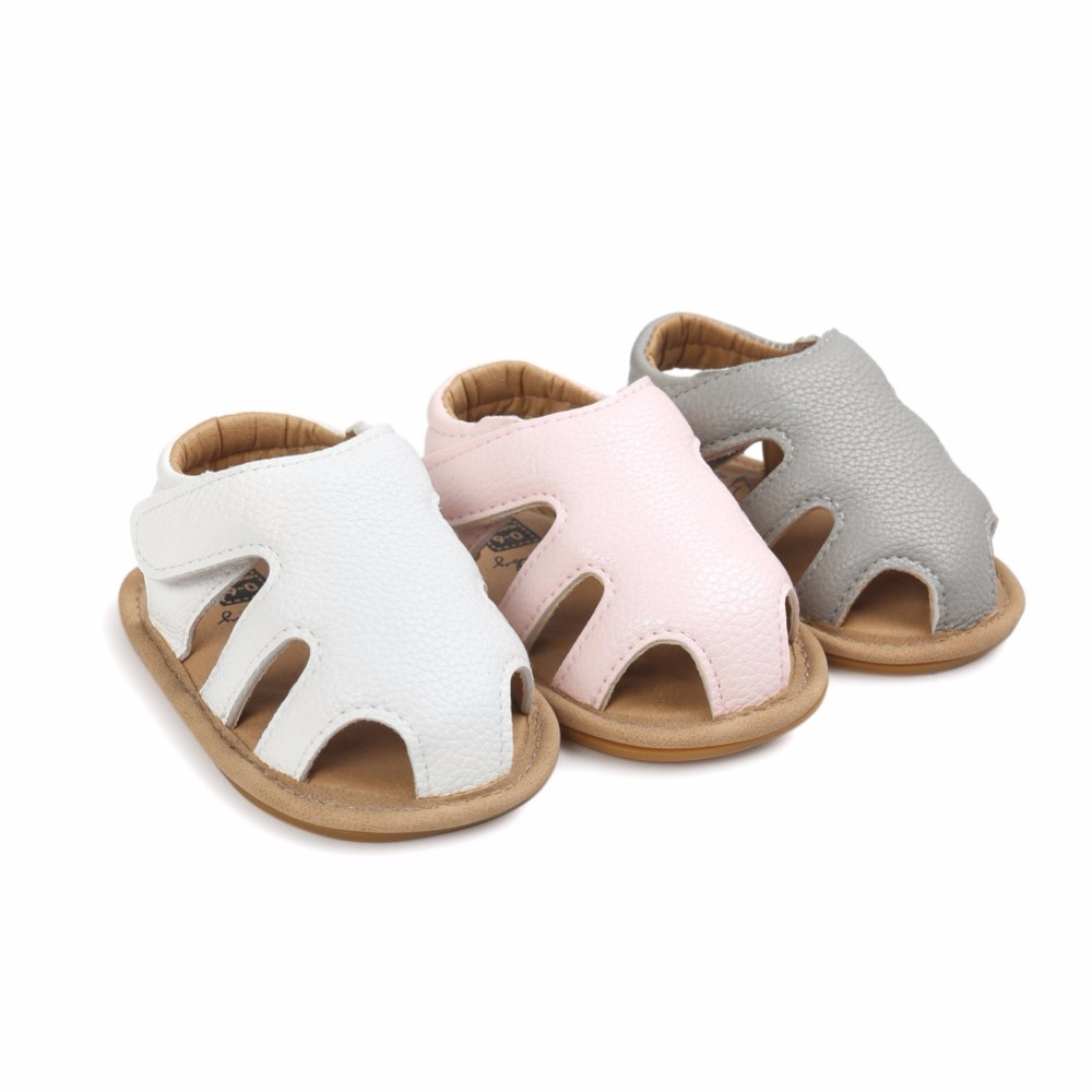 Newborn Outdoor PU Leather Baby Kids Girl Boy First Walkers Hollow Soft Rubber Soled Summer Shoes