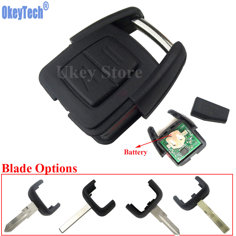 OkeyTech New 2 Button Remote Key FOB ID40 Chip For Vauxhall Opel Astra Vectra Zafira 433