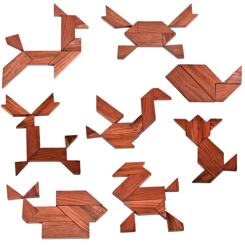 Bébé en bois Tangram Puzzle jouet Montessori forme géométrique planche en bois bricolage enfants enfance petite éducation jouet cadeau