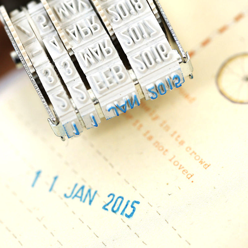 Fromthenon Cute Date Stamp Planner Stamps Bussiness Rubber Stamp With Adjustable Date Diary School Supplies Office Stationery