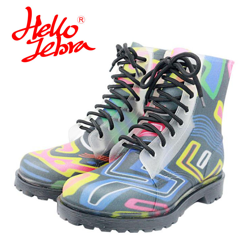 Hellozebra Women Rain Boots Lady High shoes platform boots Low Heels Waterproof Buckle Polka Dot 2017 New Fashion Design hellozebra women rain boots lady high shoes platform eva boots printing leather low heels waterproof buckle wearable appliques