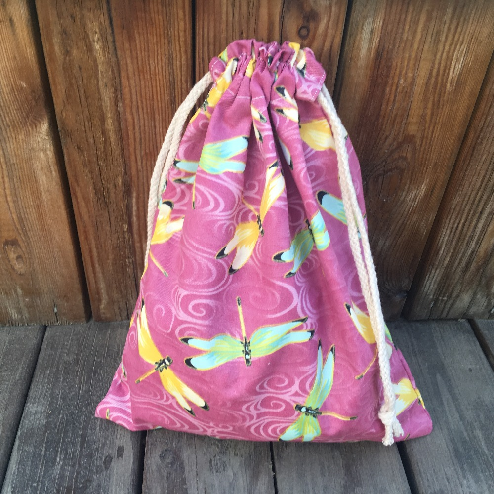 YILE 1pc Cotton Drawstring Multi-purpose Pouch Party Gift Bag Yellow Green Dragonfly YL9128b