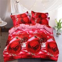 4デザインローズ3d印刷綿寝具セットレッド/ブルー/ピンク布団カバーベッドリネンベッドシート枕カバークイーンサイズスワン