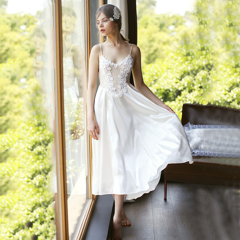Sexy Women Lace Silk Satin Lingerie Wedding Night Dress