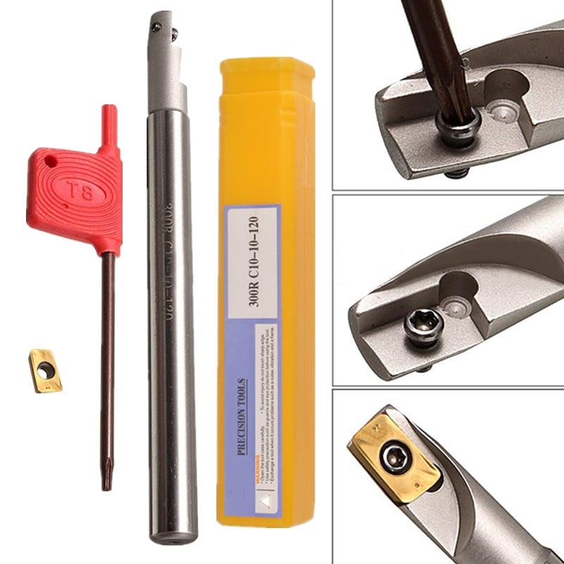 1pc Mayitr BAP300R C10-10x120-1T Tool Holder Boring Bar + APMT1135PDER Insert + Wrench For Lathe Turning Tools 4pcs 12mm boring bar tool holder 10pcs dcmt070204 carbide insert with 4pcs wrench mayitr for lathe turning tools