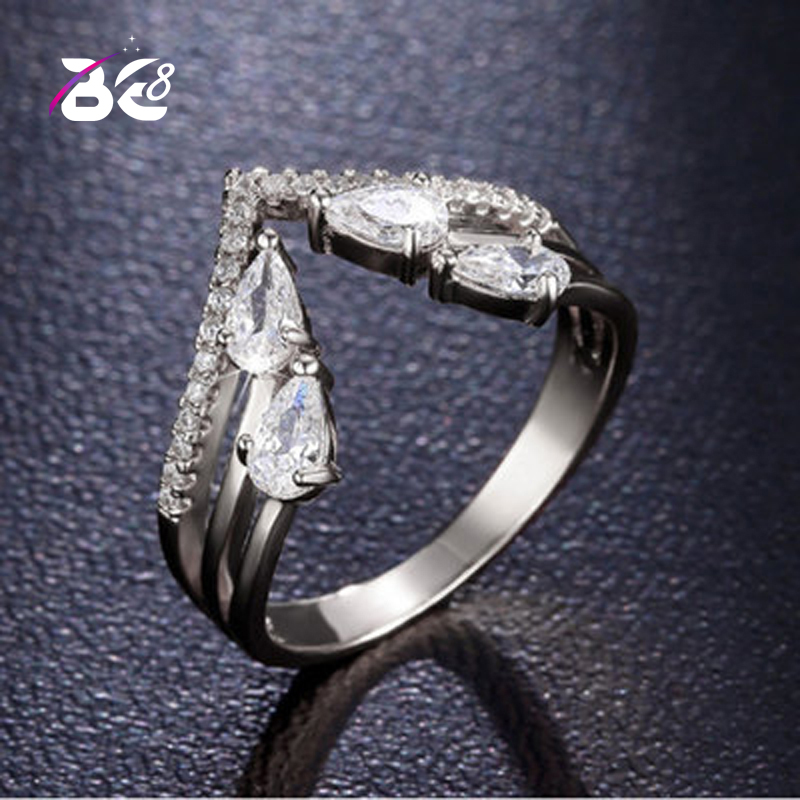 Быть 8 новый европейский Для женщин кольца из белого золота Цвет Micro Pave CZ камень большой V Форма кольцо Модные украшения для Для женщин r131