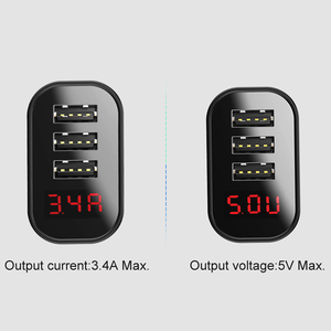 Image 4 - Baseus LED Digital 3 Ports USB Charger EU Plug Mobile Phone Fast Charging Wall Charger 3.4A Max for iPhone X 8 7 Samsung S9 S8
