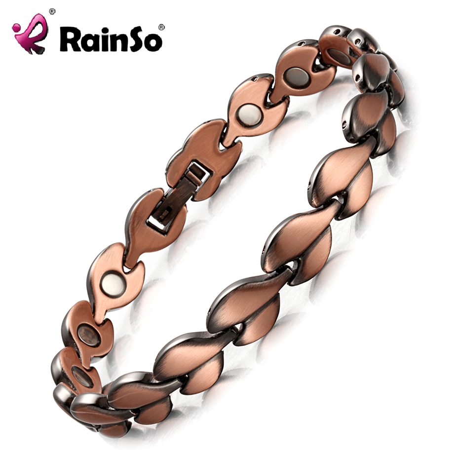 RainSo Red Copper Healing Magnetic Bracelets for women Bio Energy Bracelets & Bangles Health Female Jewelry Relieve arthritis rainso vintage copper magnetic bracelet for men women 2 row magnet healthy healing therapy bio energy bangles fashion jewelry
