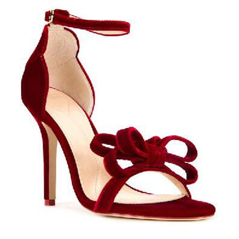 ФОТО Sandalias Mujer Summer Women Sandals Butterfuly Knot Decorated Sandale Femme High Heels Sandals Buckle Strap Women Red Shoes
