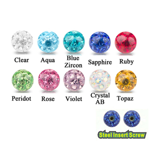 Image 3 - Crystal Ferido Epoxy Balls Piercing Body Jewelry Replacement For Belly Button Navel Lip Ring Tongue Barbells Insert Steel Screw