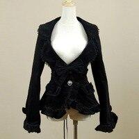 Woman Jacket Spring Autumn 2016 Vintage Gothic Costume Office Cardigan Coat Female Ruffled Bandage Tops Velveteen