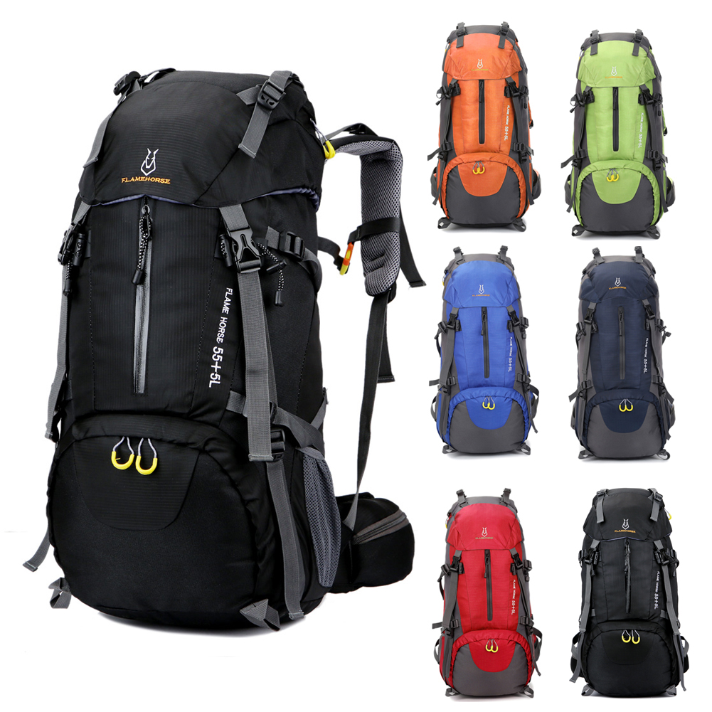 Outdoor Men Women Trekking Hiking Bag Backpack Travel Luggage Bag 60L Camping Cycling Riding Climbing Bags With Rainproof Cover