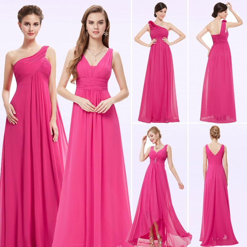 Ever-Pretty Women Elegant Long Bridesmaid Dresses Peachy Pink A-Line V-Neck Sleeveless Chiffon Party Dresses For Wedding