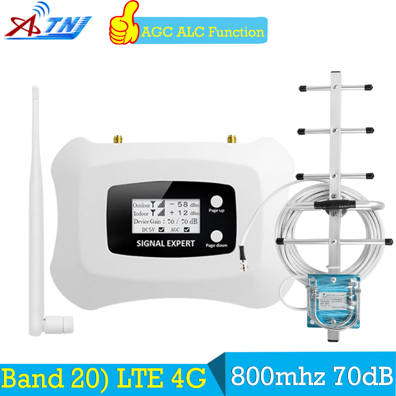 ATNJ 70dB Banda 20 4g Amplificador LTE FDD 800 Europa Amplificador de Sinal de Telefone Móvel Impulsionador Do Telefone Celular 4g lte 800 mhz Repetidor