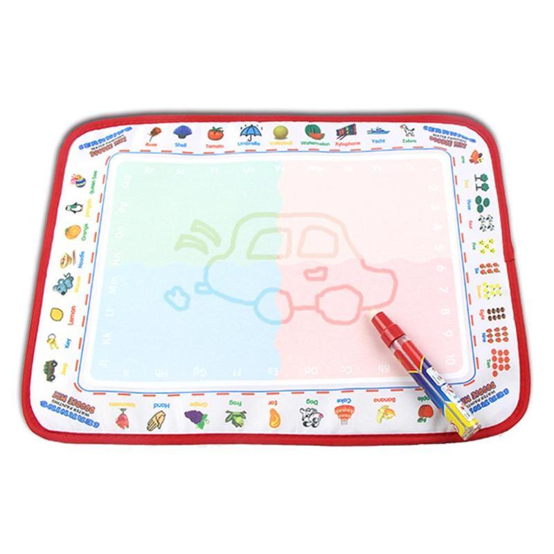 цена Children Magic Water Drawing Canvas Doodle Coloring Painting Board with Pen Board Play Rug Russian Board Kids Educational Gift онлайн в 2017 году
