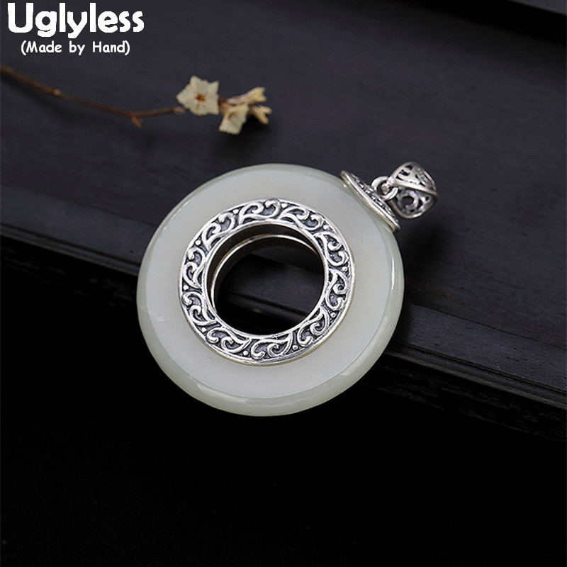 Uglyless Real 925 Sterling Silver Natural White Jade Button Pendants for Women Ethnic Handmade Circle Pendant Necklaces NO ChainUglyless Real 925 Sterling Silver Natural White Jade Button Pendants for Women Ethnic Handmade Circle Pendant Necklaces NO Chain