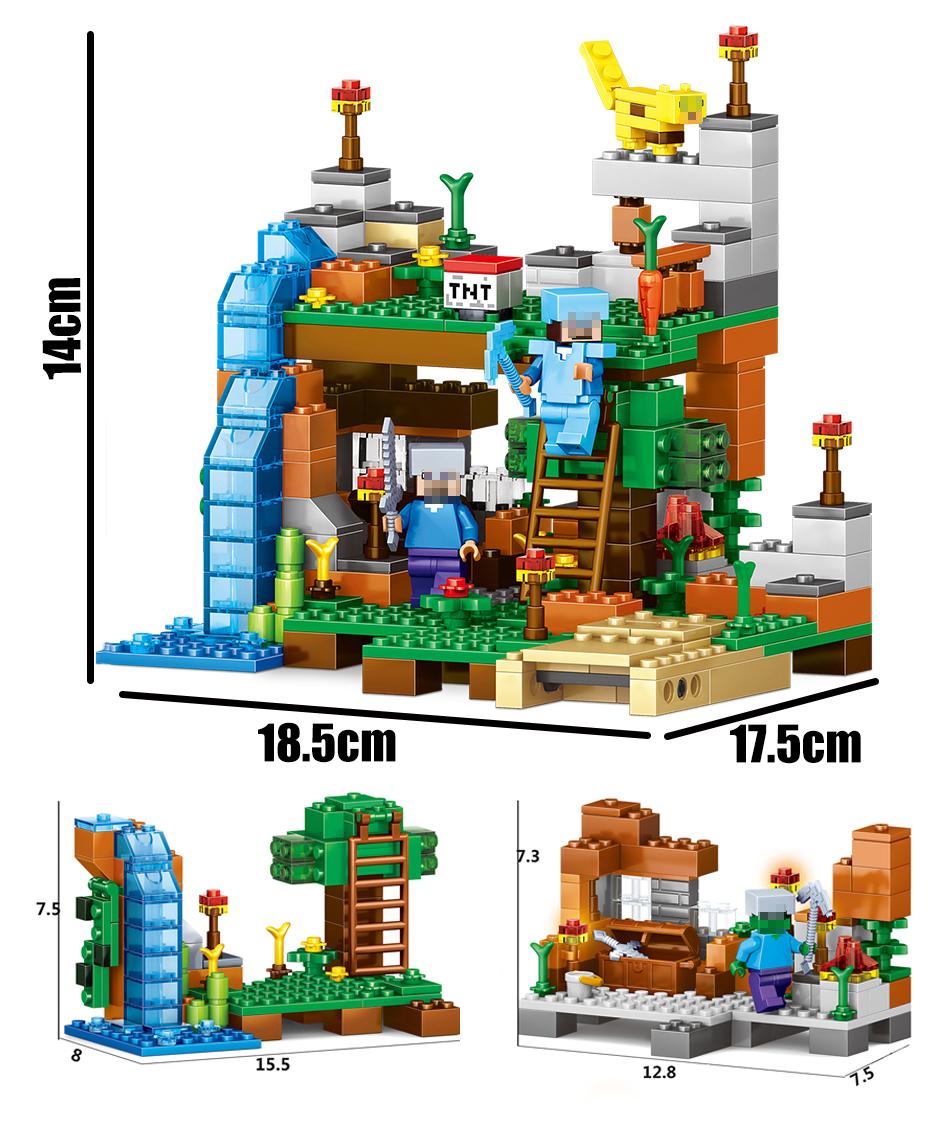 игрушка qunlong minecrafted цифры строительные блоки 4 в 1 сад кирпича Сделай сам игрушка в подарок для малыша совместимость с легое майнкрафт город