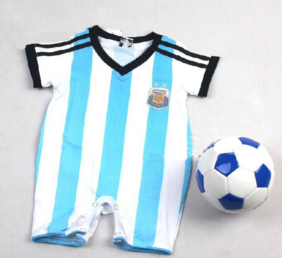 a3913d3cc6c 100% Cotton 2014 World Cup Argentina Baby soccer jersey Rompers,0-3 years  Infant BB kids football shirts coveralls free shipping