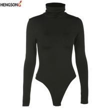HENGSONG Turtleneck Long Sleeve Sexy Bodysuit Women Solid Color Bodycon Skinny W