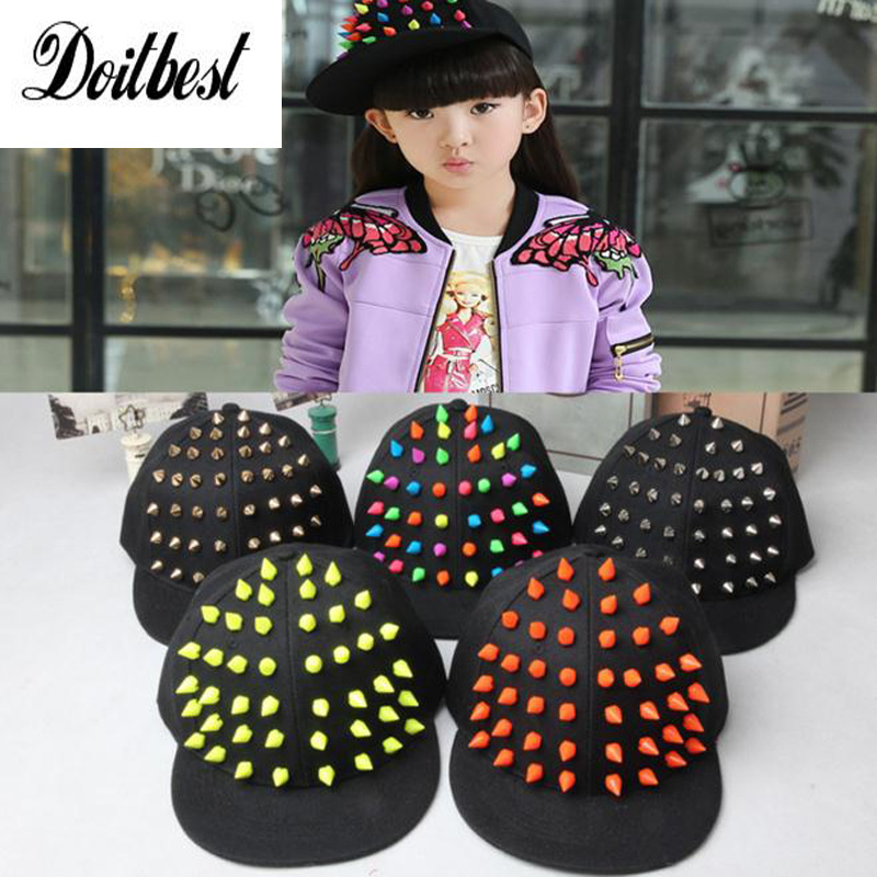 2016 Cool Kids Baseball Caps Alternative rivets Hip hop Cap snapback hats Baby Boys Girls Peaked cap Parent-child caps цены онлайн