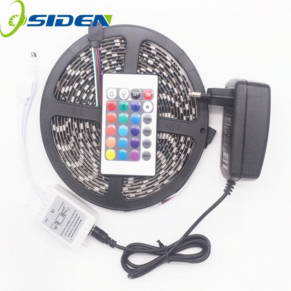 OSIDEN LED Strip Black PCB RGB Led Light 5050 5m 60Leds/m led Tape Waterproof Diode Ribbon 24Key IR Controller 3A Power Supply