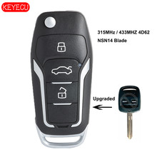 Keyecu Upgraded Flip Remote Key 315/433MHZ 4D62 Chip for Subaru Forester Liberty Outback Impreza NSN14 Uncut Blade