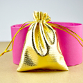 50pcs/Lot 13x18cm Silver & Gold Plated Satin Gift Bags Small Jewelry Package Bag Charms Packaging Pouch Drawstring Bag