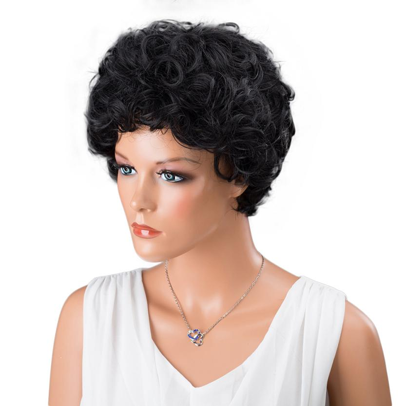 Fashion Wig Natural Hair Curly Wig Ladies Women Short Black Front