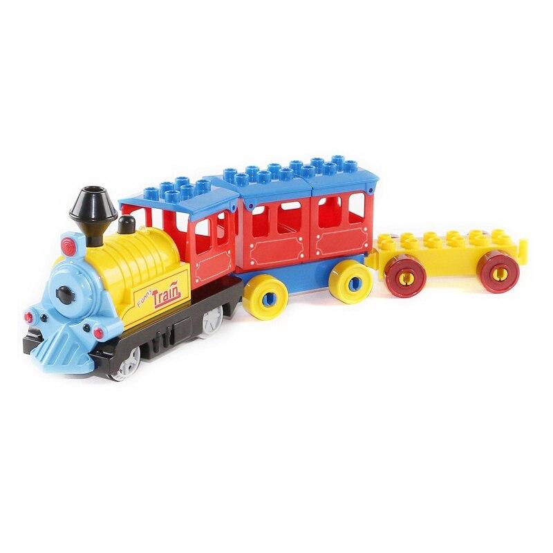 Bateria Operado Duplo Trem Brinquedos de Blocos de Construção Crianças Brinquedo Educativo Presente Trem Elétrico para As Crianças
