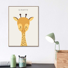 Lovely Animal Canvas Art Print Poster, Minimalist Wall Painting for Living Room Children Room Decor, Nordic Cartoon Giraffe nordic minimalist cute animal children s room canvas painting art print poster picture wall living room bedroom home decor