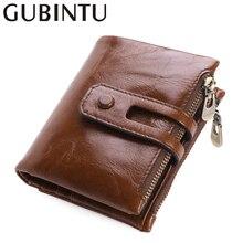 GUBINTU Fashion Genuine Leather Men Wallets Gentle Zipper Coin Pocket Card Holder Black For