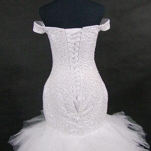 Image 5 - QQ Lover 2020 جديد قبالة الكتف حورية البحر فستان الزفاف مخصص حجم كبير العروس ثوب زفاف أفريقي